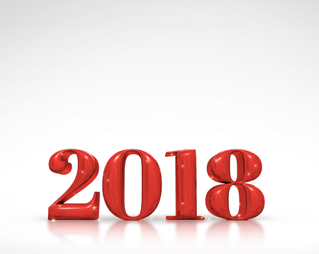 adding: 2018 new year red number (3d rendering) on white studio room,Holiday card,Leave space for adding text Stock Photo