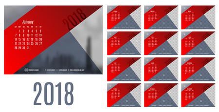 Vector of Calendar New year 2018 ,12 month calendar with modern red and blue triangle style,week start at Sunday,Template for place your photo. Çizim
