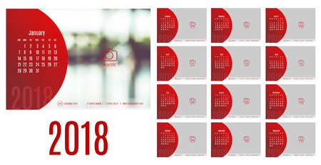 Vector of Calendar 2018 year ,12 month calendar with modern style,week start at Sunday,Template for place your photo.