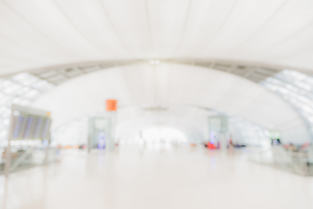 Blurred background,airport hallway Terminal Departure with bokeh light. Stock Photo