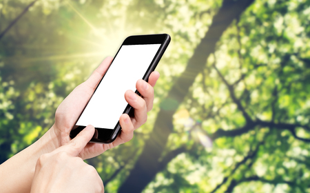 adding: Hand click mobile phone with blur green tree at park background bokeh light,White screen mock up template for adding your design or your text.