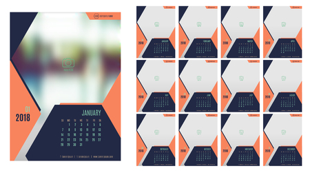 Vector of Calendar 20118year ,12 month calendar with modern navy blue color style,week start at Sunday,Template for place your photo. Illustration
