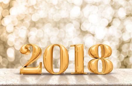 행복 한 새 해 반짝이 골드 bokeh 벽, 휴일 축 하 개념 대리석 테이블에 광택 2018 골드.