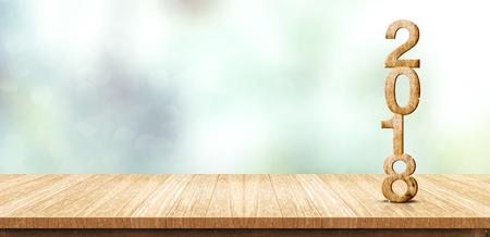Het nieuwe houtnummer van jaar 2018 (het 3d teruggeven) op houten planklijst bij achtergrond van onduidelijk beeld de abstracte groene bokeh, bespot omhoog bannerruimte voor vertoning of montering van product, bedrijfspresentatie. Stockfoto