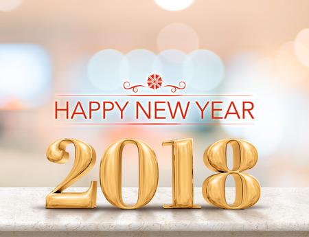 Gelukkig nieuw jaar 2018 (3d teruggeven) gouden kleuren nieuw jaar op glanzend marmeren tafelblad met achtergrond van onduidelijk beeld de abstracte bokeh, de kaart van de vakantiegroet