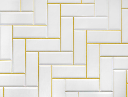 Pattern White Ceramic Brick Tile With Golden Line Wallmodern Abstract Texture Background Stock