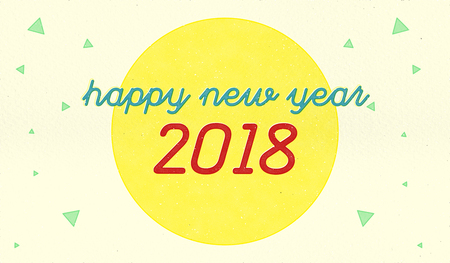 Vintage print style of Happy new year 2018 with yellow circle and triangle confetti on cream color craft paper,Holiday greeting card
