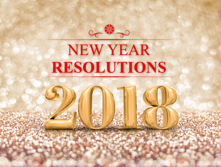 New year resolution 2018 (3d rendering) on gold sparkle glitter perspective floor to blur gold sparkling bokeh abstract background,holiday greeting card.business vision. Stock Photo