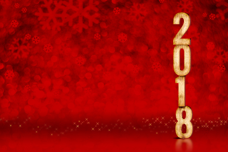 happy new year 2018 number at red snowflakes sparkling bokeh lightsleave space for adding