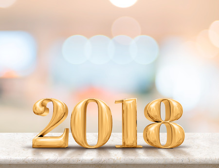 Happy new year 2018 (3d rendering) on marble table top with blur pastel color abstract bokeh background,Holiday greeting card.leave space for adding text