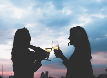 silhouette two asia lesbian lgbt couple toast champagne glass at rooftop party in sunset evening time,love wins,enjoy and cheerful lifestyle,birthday or anniversary party concept. Standard-Bild