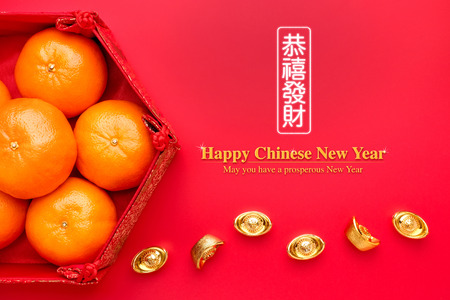Group of orange tangerine in Chinese pattern tray with gold ingots on red table.Chinese Language on ingot mean wealthy and lable mean May you have a prosperous New Year 免版税图像