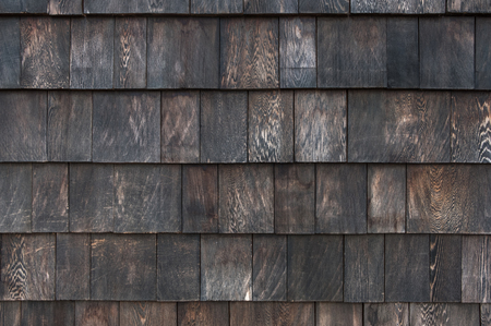 close up roof scale wooden tiles wall ,texture background.