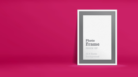 Vector of Blank Photo Frame in vivid pink studio room, Template mock up for display or montage of your content,Business presentation backdrop, 16:9 ratio background.