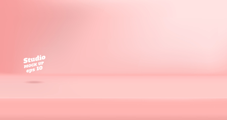 Image vectorielle fond de salle de table de studio de couleur rose pastel vide, affichage du produit avec espace de copie pour l'affichage de la conception de contenu. Bannière pour annoncer le produit sur le site Web