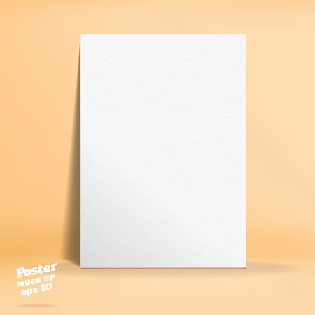 Vector of White paper poster in pastel colorful orange studio room,Template mock up for display of design or your content ,Business presentation