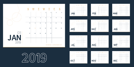 Vector of 2019 new year calendar in clean minimal blue table simple style,Holiday event planner,Week Starts Sunday.include holiday event.A5 size