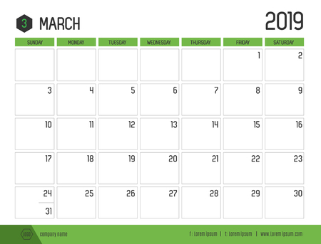 Vector of modern green calendar 2019 ( March ) in simple clean table style.full size 21 x 16 cm; Week start on Sunday
