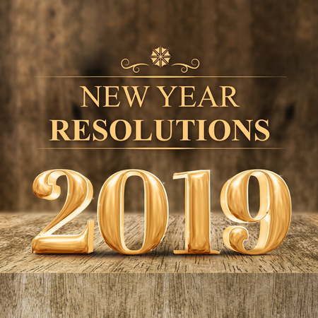 Gold shiny 2019 new year resolutions (3d rendering) at wooden block table and blur wood wall,Holiday greeting card,Mock up for display of your design or content for social media. Stock Photo