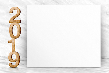 Happy new year 2019 3d rendering with blank white poster greeting card in perspective white marble studio room,leave space for display of design or content Standard-Bild - 112242664