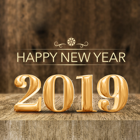 Gold shiny Happy New year 2019 3d rendering at wooden block table and blur wood wall,Holiday greeting card for social media Standard-Bild - 112242665