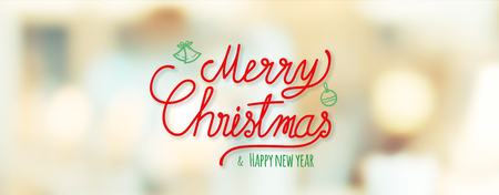 Red Merry Christmas and happy new year handwriting at blur bokeh Christmas decor with string light background,Winter holiday banner greeting card Standard-Bild - 113445038