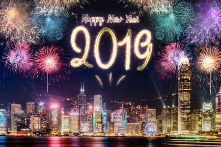 Happy new year 2019 firework over cityscape building at night time celebration,Happy new year countdown.greeting card Standard-Bild - 113445070