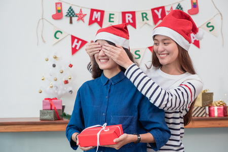 Asia girl lovers couple,girlfriend close eye to surprise friend by giving Christmas present  at house party,Holiday celebrating season,Lovely lesbian couple. Standard-Bild - 113445123