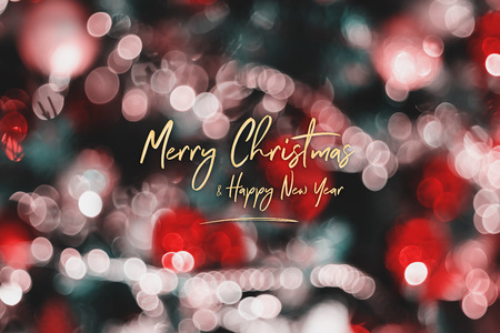 Merry Christmas and happy new year on abstract blur decoration ball and light string on christmas tree with bokeh light background.winter holiday seasonal Standard-Bild - 113793797