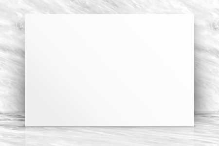 Blank long white paper poster at luxury white glossy marble wall and floor,Mock up template for adding your content or design,Business presentation Foto de archivo