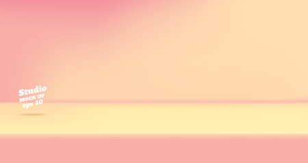 Vector,Empty vintage two tone pink and peace color studio table room background ,product display with copy space for display of content design.Banner for advertise product on website Ilustração