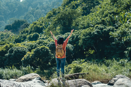 Asian woman traveler standing on rock and arms up in the air at landscape view of green rain forest and stream water in sunny day at forest.backpacker explore nature life Standard-Bild - 118844667