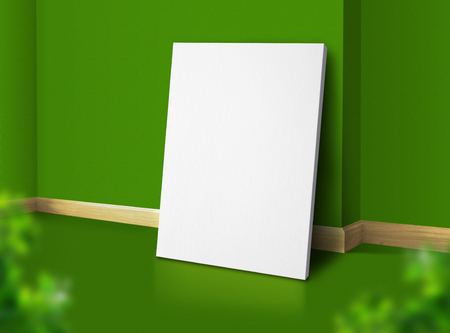 Blank poster at corner natural green studio room with wall and floor background with leaf foreground,Mock up studio room for display of design for advertising on media Standard-Bild - 118844708