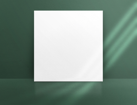 Blank white paper poster leaning at green color concrete wall and floor with window sunlight in perspective room,Business mock up presentation.Template display of design or content Standard-Bild - 118844663