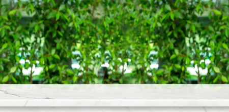 Empty marble table with green blur leaf wall garden background Mock up for display or montage of product,panoramic view,organic concept banner for advertise on online media. Standard-Bild - 118844615