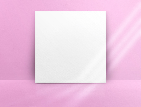 Blank white paper poster leaning at green color concrete wall and floor with window sunlight in perspective room,Business mock up presentation.Template display of design or content Standard-Bild - 120919662