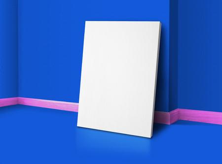 Blank poster at corner vivid blue and pink trim studio room with wall and floor background,Mock up studio room for display or montage of product for advertising on media,Business presentation. Standard-Bild - 120919664