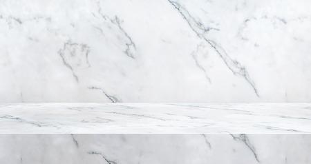 Fond de studio de table en marbre de luxe 3D texturé pour l'affichage du produit avec espace de copie pour l'affichage de la conception de contenu. Bannière pour annoncer le produit sur le site Web. Rendu 3d.