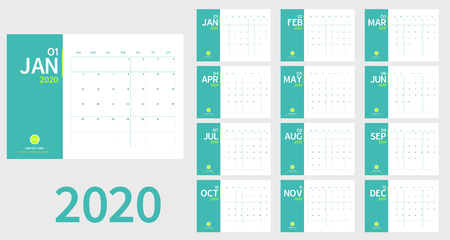 Vector of 2020 new year calendar in clean minimal table simple style and light green color,Holiday event planner,Week Starts Sunday.include holiday event.A5 size