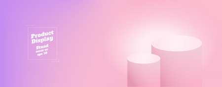 Vector,Empty subtle gradient purple to pink color studio round kiosk stand background ,product display with copy space for display of content design.Banner for advertise product on website Illusztráció