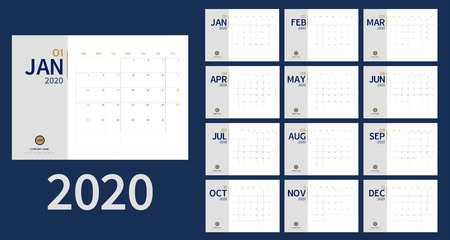 Vector of 2020 new year calendar in clean minimal table simple style and blue gold color,Holiday event planner,Week Starts Sunday.include holiday event.A5 size.  イラスト・ベクター素材