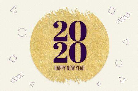 Happy new year 2020 word on gold circle glitter on cream modern geometric shape patternbackground,minimal Holiday greeting card.
