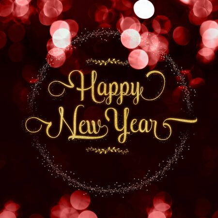 Happy new year gold glossy with star on red velvet color bokeh light sparkling background,Holiday greeting card Фото со стока