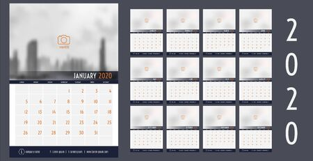 Vector 2020 new year calendar planner template table simple style navy blue and orange, Holiday event planner, Week Starts Sunday. 12 month layout annual calendar
