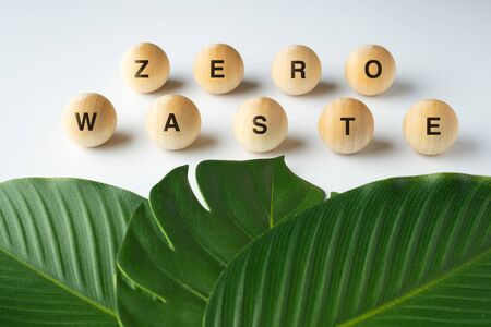 zero waste word on wood block with green leaf on white table, eco friendly and plastic free concept 版權商用圖片