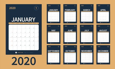 Vector of 2020 new year calendar in clean minimal table simple style and blue gold color, Holiday event planner, Week Starts Sunday. include holiday event. Ilustracja