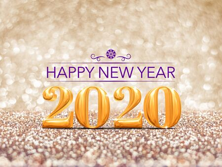 happy new year 2020 year gold number ( 3d rendering ) at sparkling golden glitter studio background ,Holiday Greeting card.Banner mock up for display of design