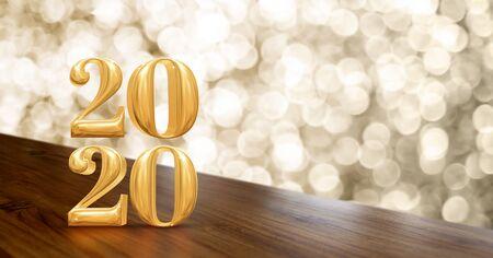 Gelukkig nieuwjaar 2020 goud glanzend (3D-rendering) op hoekhouten tafel met sprankelende gouden bokeh-muur, banner voor weergave van product voor vakantiepromotie adverteren