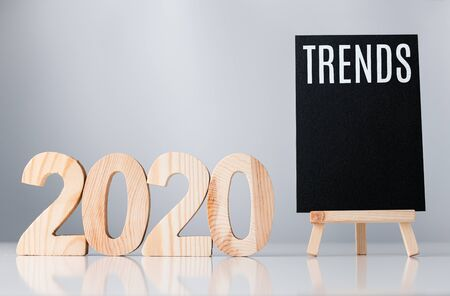 2020 trend on blackboard on grey background,business global trends concept 写真素材