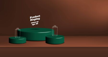 Vector product display background,Empty orange brown gradient with dark green studio round kiosk stand on table, banner with copy space for display of product for promotion advertising Illusztráció